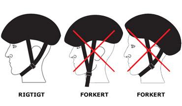 Korrekt anvendelse af  cykelhjelm